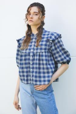 RUFFLE INDIGO CHECK blouse
