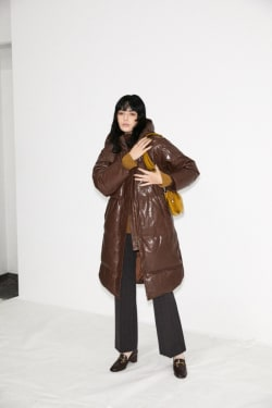 OS LEATHER LONG DOWN JACKET