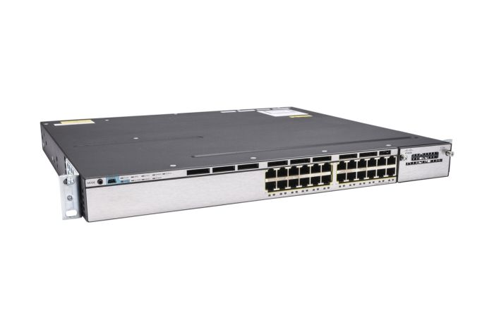 Cisco Catalyst WS-C3750X-24T-E Switch IP Services License, Port-Side Air Intake