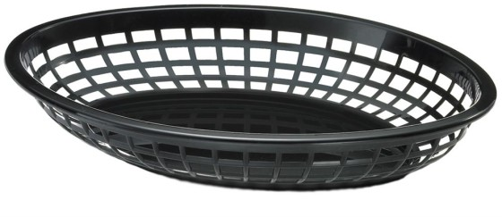Leipäkori soikea musta 30 cm