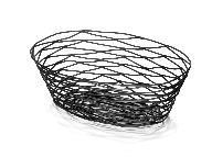 Leipäkori soikea metallilanka musta 23x16x6 cm