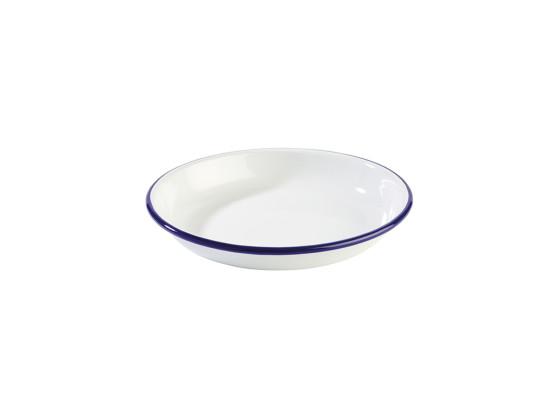 Lautanen syvä emaloitu valkoinen Ø 22 cm