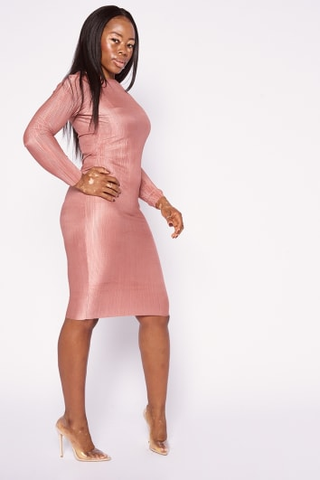 WILDA NUDE PLISSE LONG SLEEVE MIDI DRESS