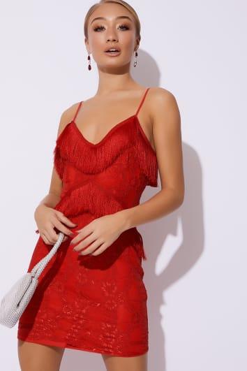 MORGYN RED TASSEL LACE CAMI DRESS