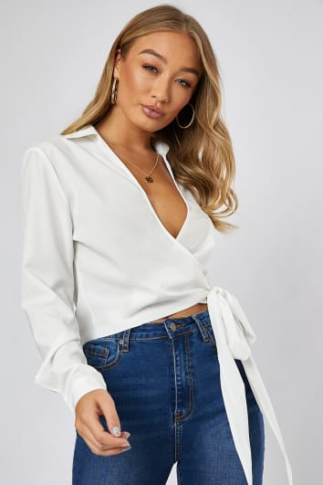JAMIMA WHITE WRAP FRONT TOP