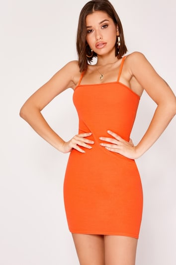 JASMINA ORANGE CREPE STRAPPY SQUARE NECK MINI DRESS