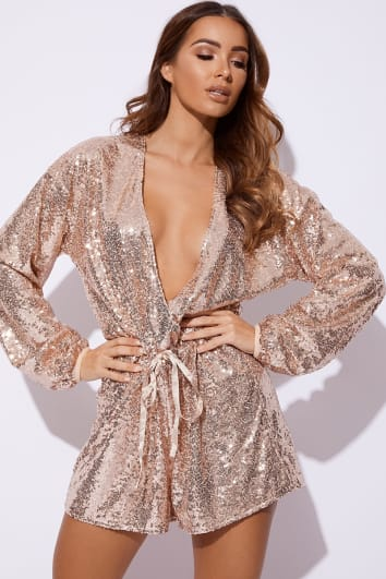18f09fbf4a EISSY ROSE GOLD SEQUIN PLUNGE PLAYSUIT