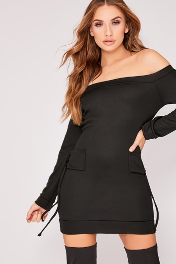 KYLEY BLACK BARDOT TIE DETAIL SWEATER DRESS