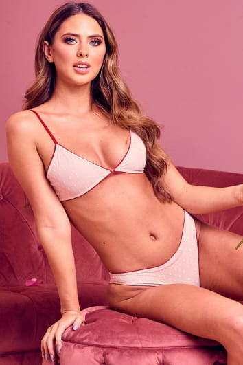 MELIA PINK AND RED SPOT MESH BRA AND KNICKERS SET