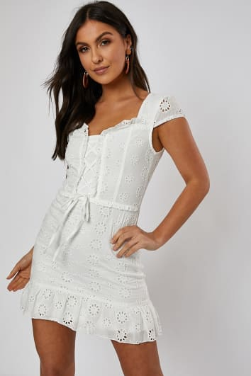 71c201be96 FINOLAH WHITE BRODERIE FRILL HEM BELTED MINI DRESS