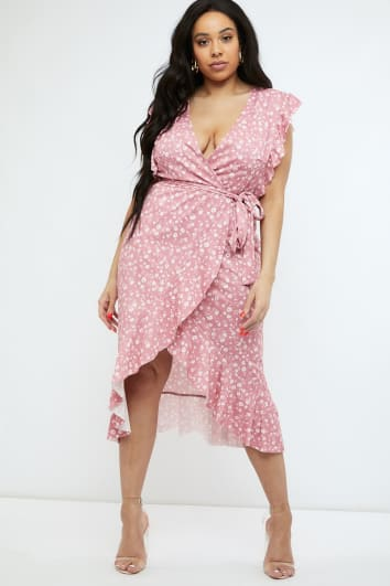 a7a00b31cd0 CURVE BILLIE FAIERS PINK DITSY FLORAL FRILL WRAP MIDI DRESS