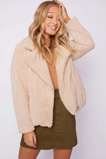 MOLLI CAMEL TEDDY FUR AVIATOR JACKET