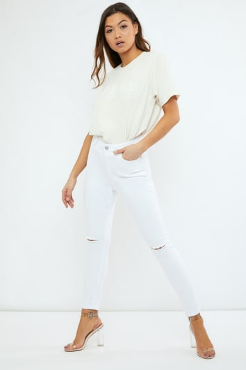 ZANEY WHITE HIGH WAIST SKINNY JEANS WITH SLASH KNEE