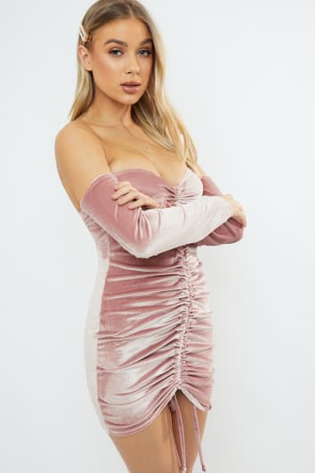 BRODIE BLUSH VELVET RUCHED BARDOT MINI DRESS