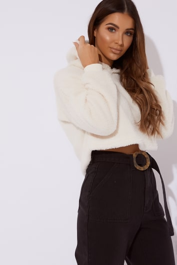LILINA CREAM FUR CROPPED HOODED SWEATER
