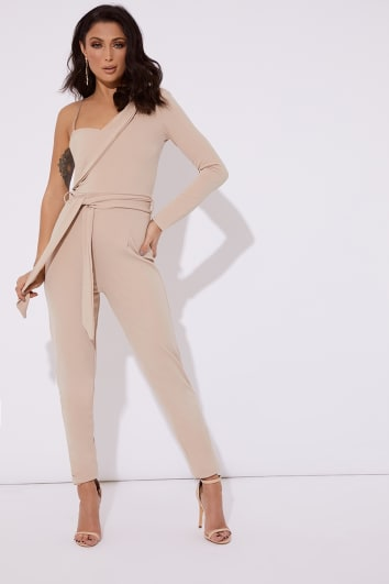 44a59a46b71 RITA STONE ASYMMETRIC ONE SHOULDER TUX JUMPSUIT
