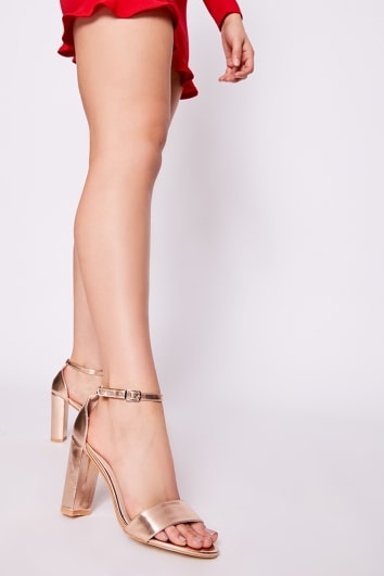 MORGAN ROSE GOLD METALLIC ANKLE STRAP BARELY THERE BLOCK HEELS