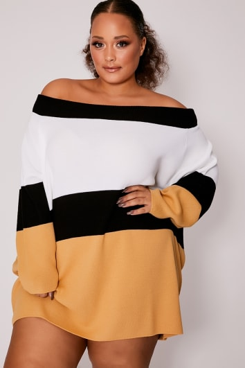 CURVE DANI DYER BROWN BARDOT STRIPED JUMPER DRESS