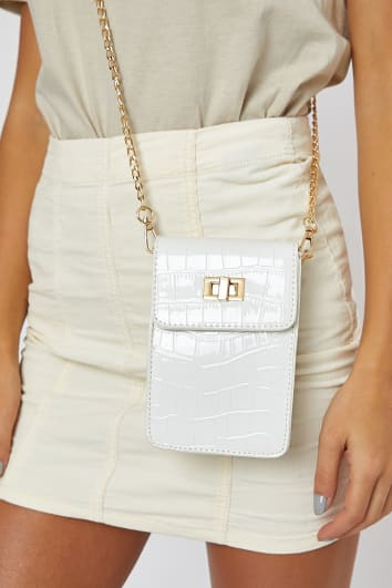 WHITE SMALL FAUX CROC BAG