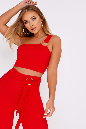BILLIE FAIERS RED RING DETAIL ONE SHOULDER CROP TOP
