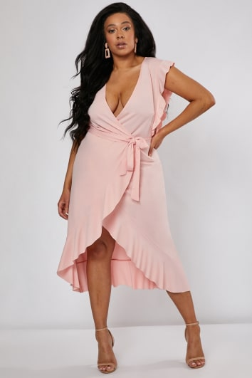 25df41d5644f6 CURVE BILLIE FAIERS BLUSH PINK FRILL WRAP FRONT MIDI DRESS
