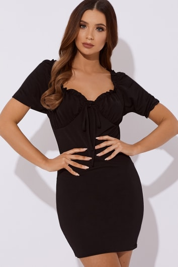 SEQUOIA BLACK PUFF SLEEVE TIE FRONT MINI DRESS