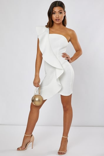 JORGINA WHITE ONE SHOULDER FRILL MINI DRESS