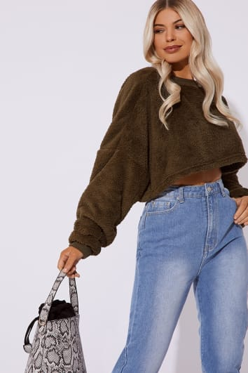 ab7193888928c JAKIRA KHAKI TEDDY FUR CROP JUMPER