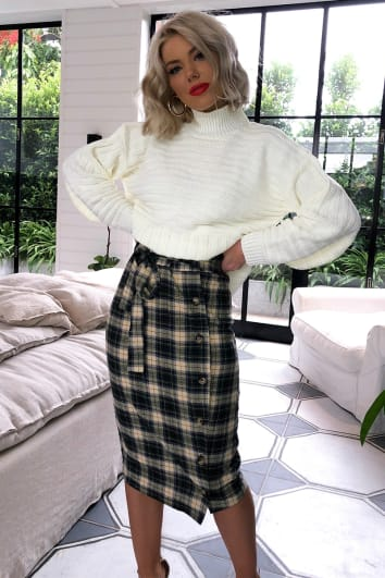 LAURA JADE GREEN CHECKED BUTTON SIDE MIDI SKIRT