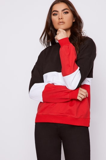 ISOLDE COLOUR BLACK AND RED BLOCK BALLOON SLEEVE SWEATER