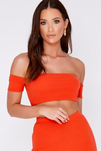 JAI ORANGE RIBBED BARDOT CROP TOP