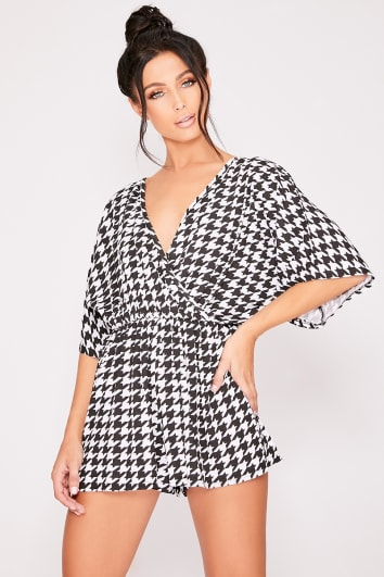 90bc295a60 MERISSA BLACK DOGTOOTH PLUNGE WRAP PLAYSUIT