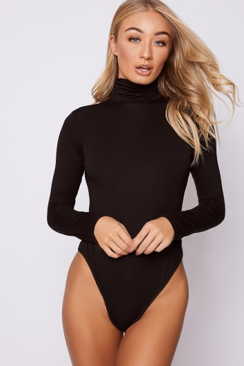 1bda992969 BASIC BLACK ROLL NECK LONG SLEEVED BODYSUIT