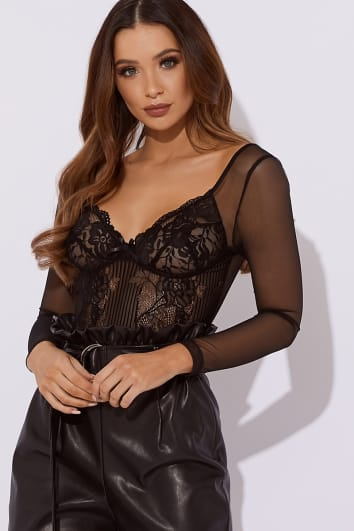 MIDORI BLACK LACE WITH MESH SLEEVE BODYSUIT