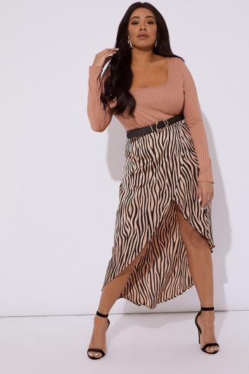 0b916fe218 Curve Brown Jalenah Zebra Woven Wrap Skirt
