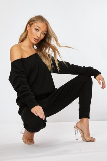 87fbcf6389dea DAGNY BLACK KNITTED CO-ORD TOP AND JOGGERS