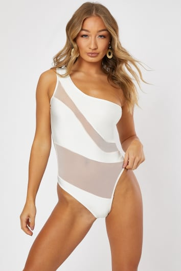 CAI WHITE WITH NUDE MESH CUT OUT SWIMSUIT