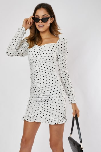 8b46dffc5688 SADELLAH WHITE AND BLACK POLKA DOT PUFF SLEEVE RUCHED FRILL HEM MINI DRESS