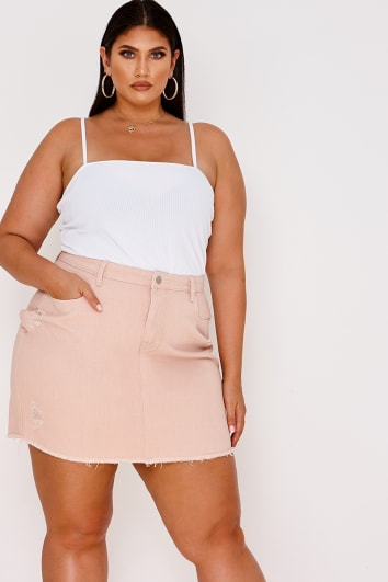 CURVE LATECIA PINK DISTRESSED DENIM MINI SKIRT