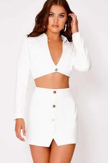 SARAH ASHCROFT WHITE BUTTON DETAIL MINI SKIRT