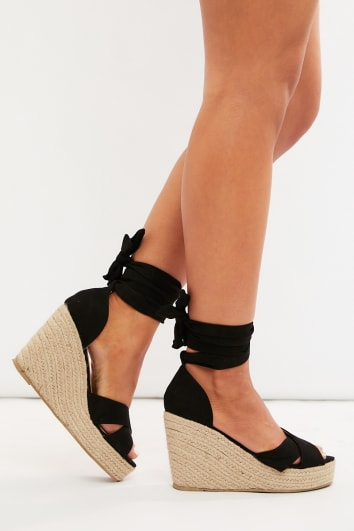 LILINA BLACK FAUX SUEDE CROSS STRAP MULTI TIE WEDGES