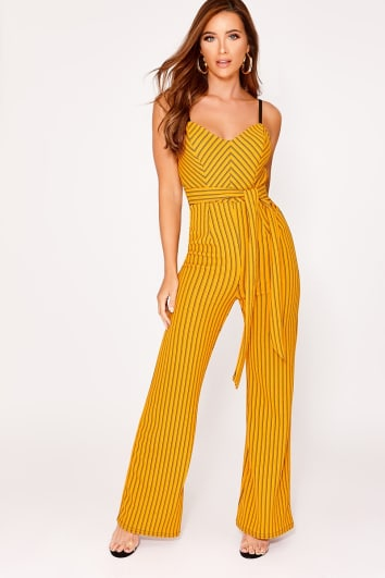 GISELLE ORANGE STRIPE PLUNGE FLARED LEG JUMPSUIT