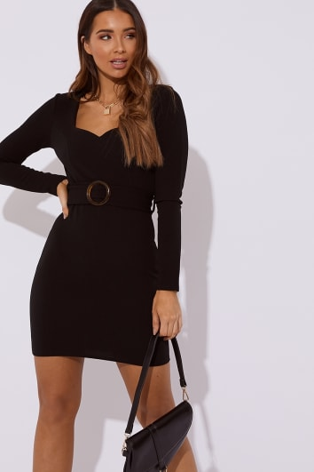 DANESSA BLACK SWEETHEART NECK BELTED DRESS