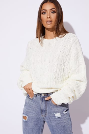 SARAH ASHCROFT WHITE CABLE KNIT OVERSIZED JUMPER