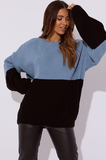 SARAH ASHCROFT BLUE COLOUR BLOCK OVERSIZED KNITTED JUMPER