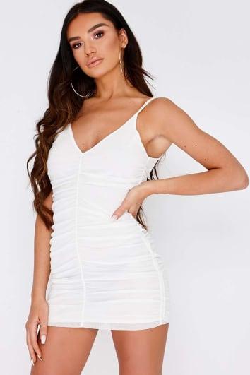 SARAH ASHCROFT WHITE RUCHED MESH MINI DRESS