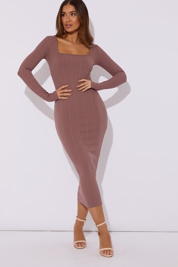 RAFFERTY MAUVE BANDAGE SQUARE NECK MIDAXI DRESS