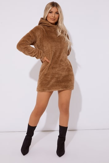 ELLEN CAMEL BORG CREW NECK HOODED SWEAT DRESS