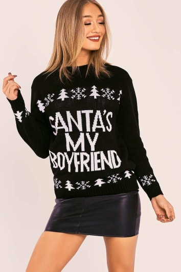 Santa Is My Boyfriend Black Christmas Jumper