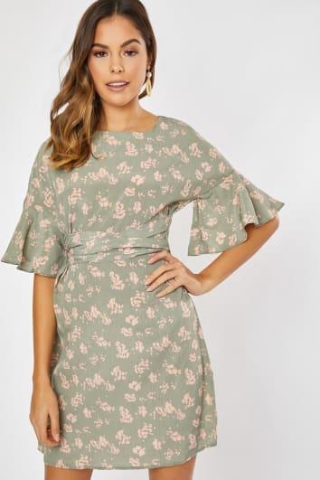 WAVA SAGE GREEN FLORAL SHIFT TIE WAIST FRILL DRESS